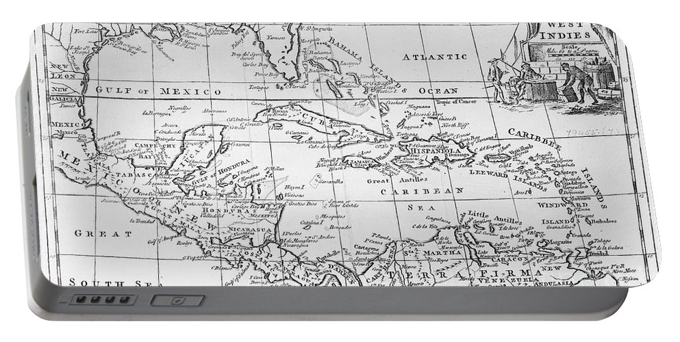 Map Portable Battery Charger featuring the painting Map Of The West Indies Florida And South America by English School
