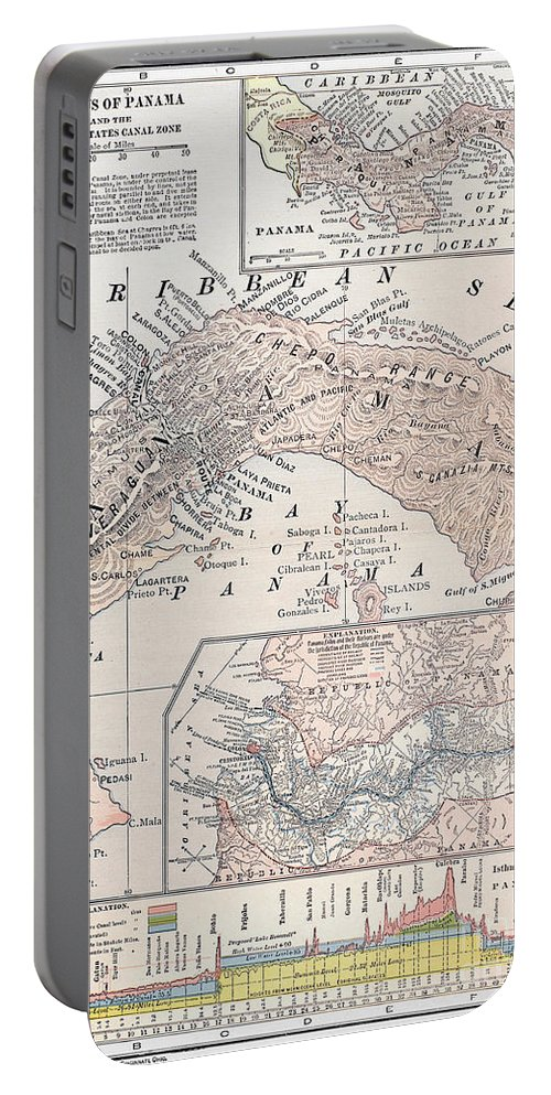 1907 Portable Battery Charger featuring the photograph Map: Panama, 1907 by Granger