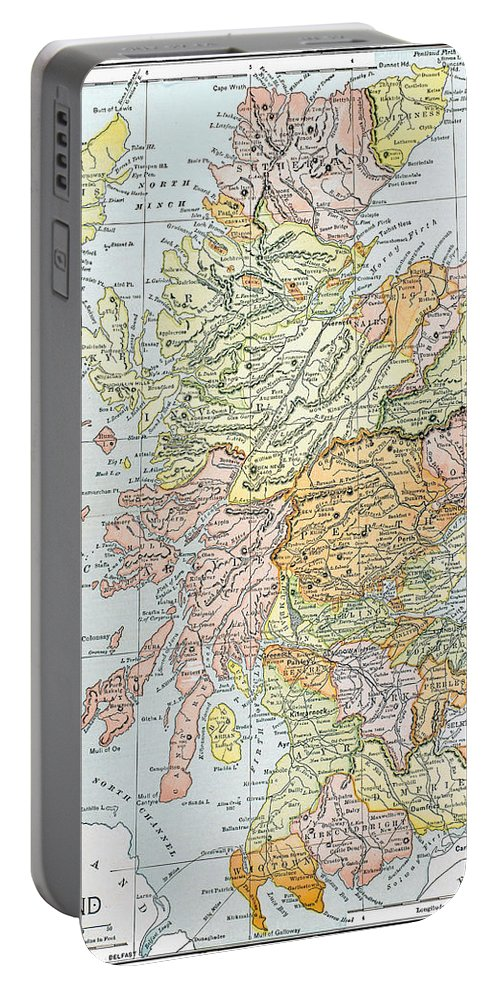 19th Century Portable Battery Charger featuring the photograph Map: Scotland by Granger
