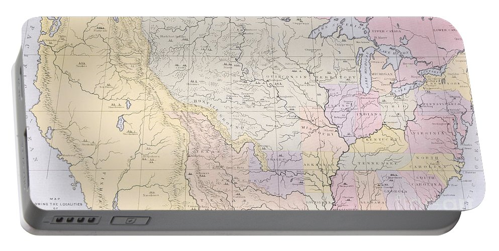 Map Portable Battery Charger featuring the painting Map Showing The Localities Of The Indian Tribes Of The Us In 1833 by Thomas L McKenney and James Hall