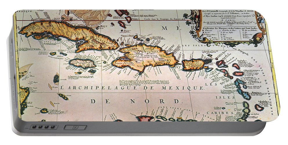1688 Portable Battery Charger featuring the photograph Map: West Indies by Granger