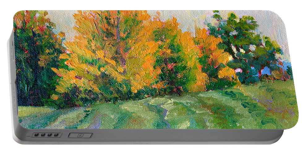 Impressionism Portable Battery Charger featuring the painting Maple Grove by Keith Burgess