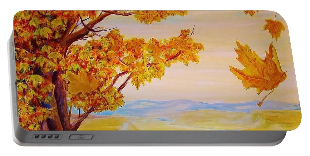 Autumn Portable Battery Charger featuring the painting Maple One Fifty by Cathy Long