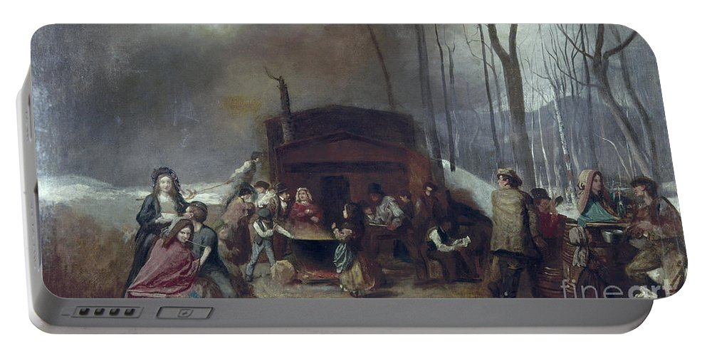 1865 Portable Battery Charger featuring the painting Maple Syrup, C1865 by Granger