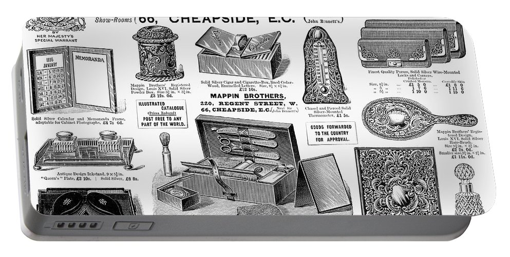 1895 Portable Battery Charger featuring the photograph Mappin Brothers Ad, 1895 by Granger