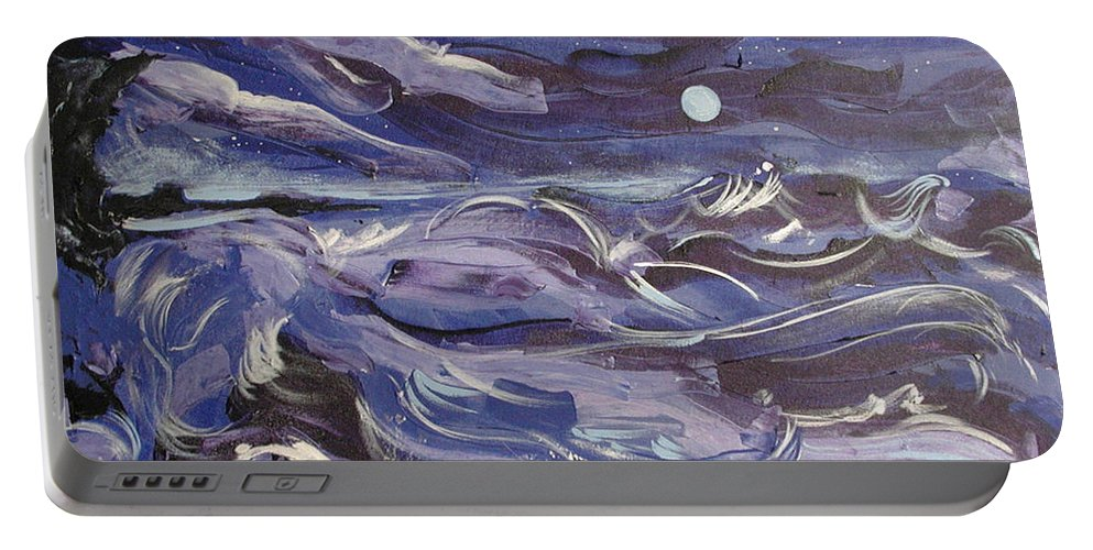 Sea Portable Battery Charger featuring the painting Mar Bravo by Rollin Kocsis