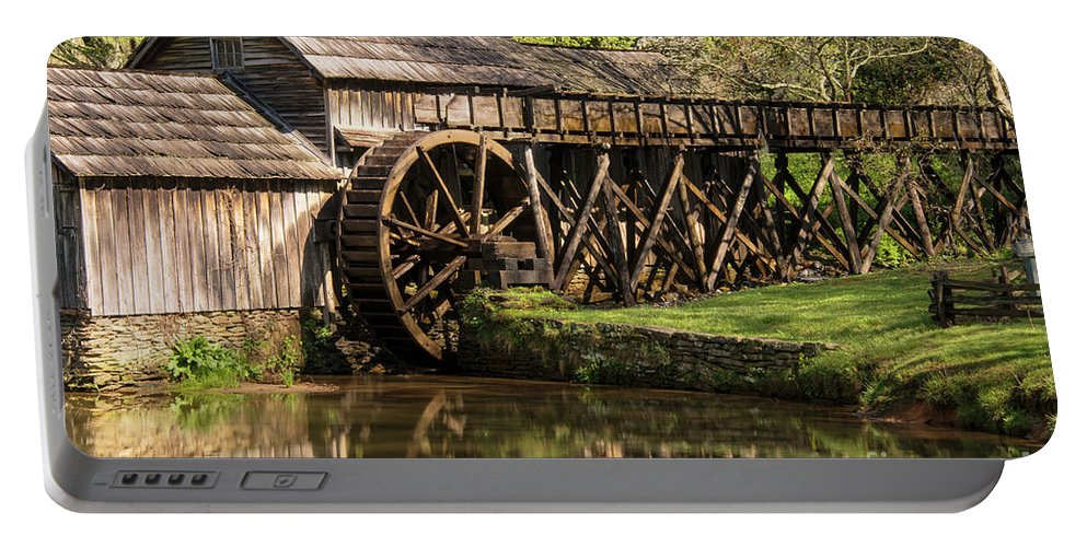 Blue Ridge Parkway Virginia Marby Mill Mills Water Wheel Landscape Landscapes Landmark Landmarks Reflection Reflections Structure Structures Building Buildings Architecture Pond Ponds Portable Battery Charger featuring the photograph Marby Water Mill by Bob Phillips