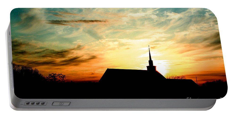 Winnebago County Portable Battery Charger featuring the photograph March Church Sunset by Tommy Anderson