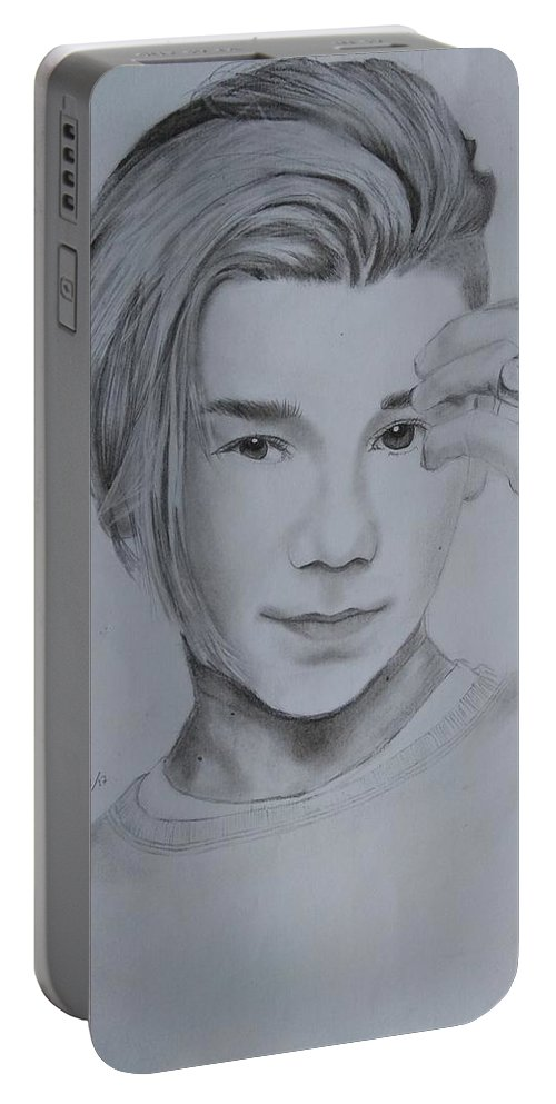 Drawing Portable Battery Charger featuring the drawing Marcus Gunnarsen by Mary Joy Asuncion