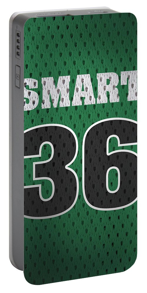 Marcus Smart Portable Battery Charger featuring the mixed media Marcus Smart Boston Celtics Number 36 Retro Vintage Jersey Closeup Graphic Design by Design Turnpike