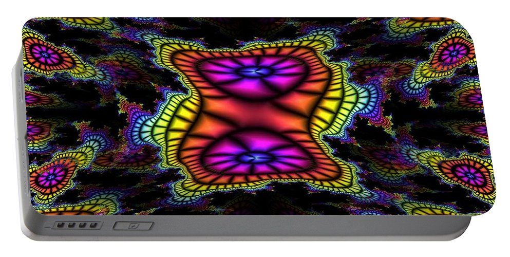 Mardi Gras Portable Battery Charger featuring the photograph Mardi Gras Fractal by Tim Allen