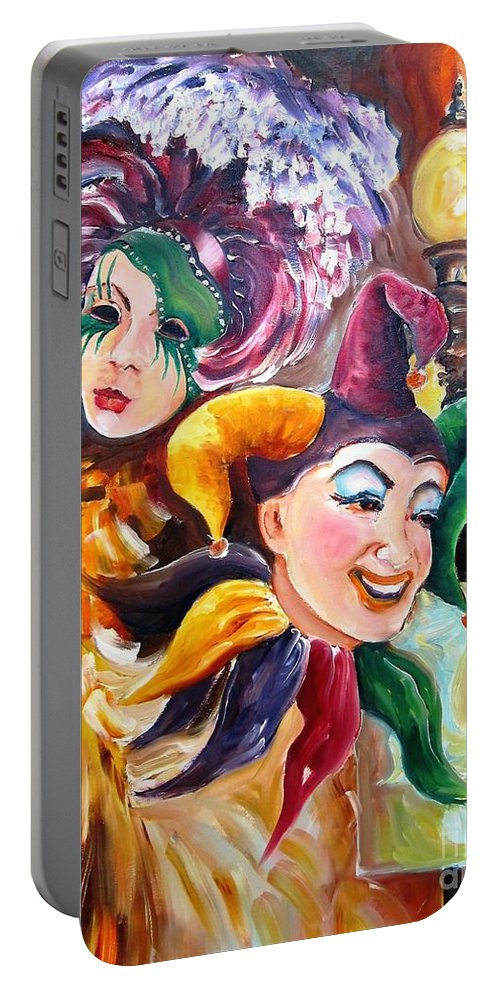 New Orleans Portable Battery Charger featuring the painting Mardi Gras Images by Diane Millsap