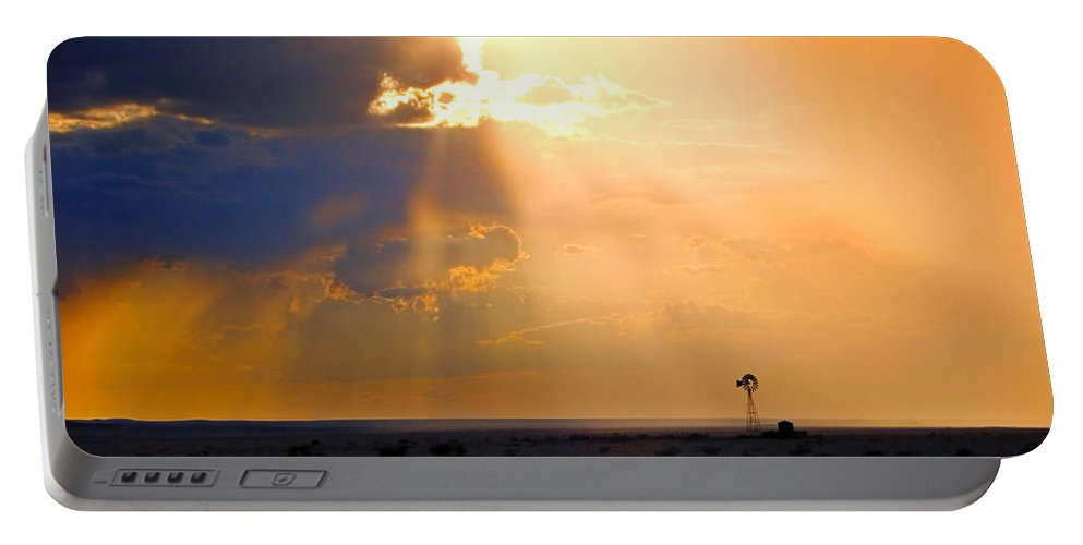 Skip Hunt Portable Battery Charger featuring the photograph Marfa Windmill 1 by Skip Hunt