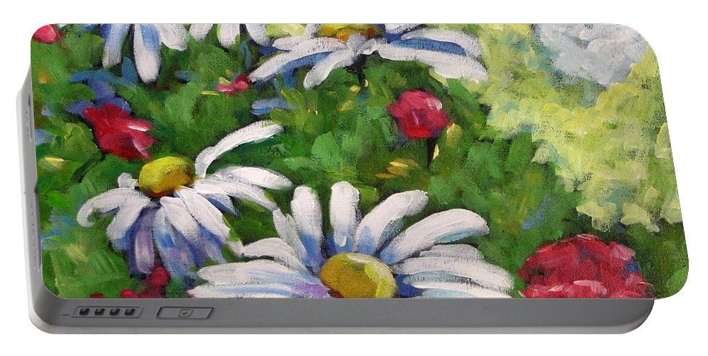 Daysy Portable Battery Charger featuring the painting Marguerites 002 by Richard T Pranke