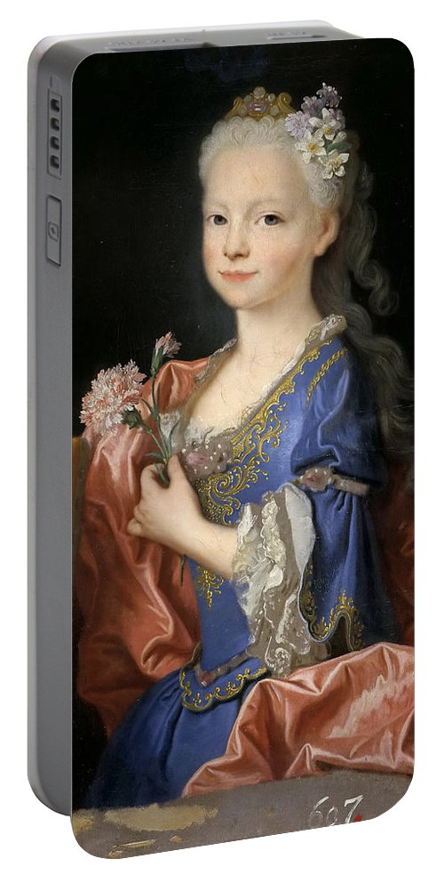 Jean Ranc Portable Battery Charger featuring the painting Maria Anna Victoria Of Bourbon. The Future Queen Of Portugal by Jean Ranc