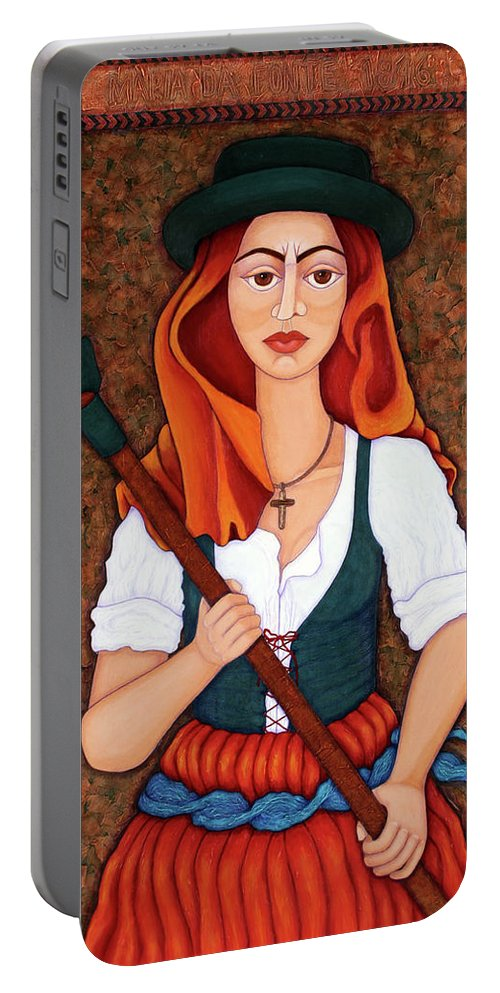 Maria Da Fonte Portable Battery Charger featuring the painting Maria Da Fonte - The Revolt Of Women by Madalena Lobao-Tello