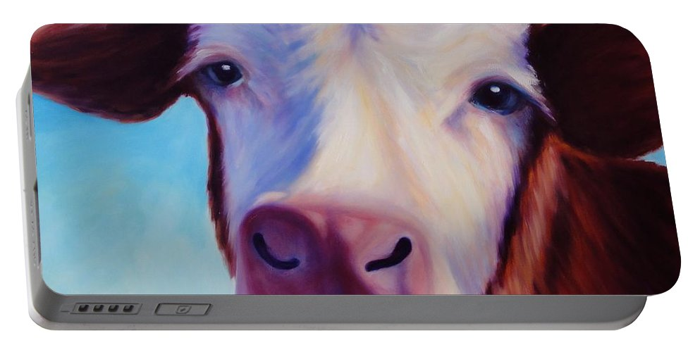 Cow Portable Battery Charger featuring the painting Marie by Shannon Grissom
