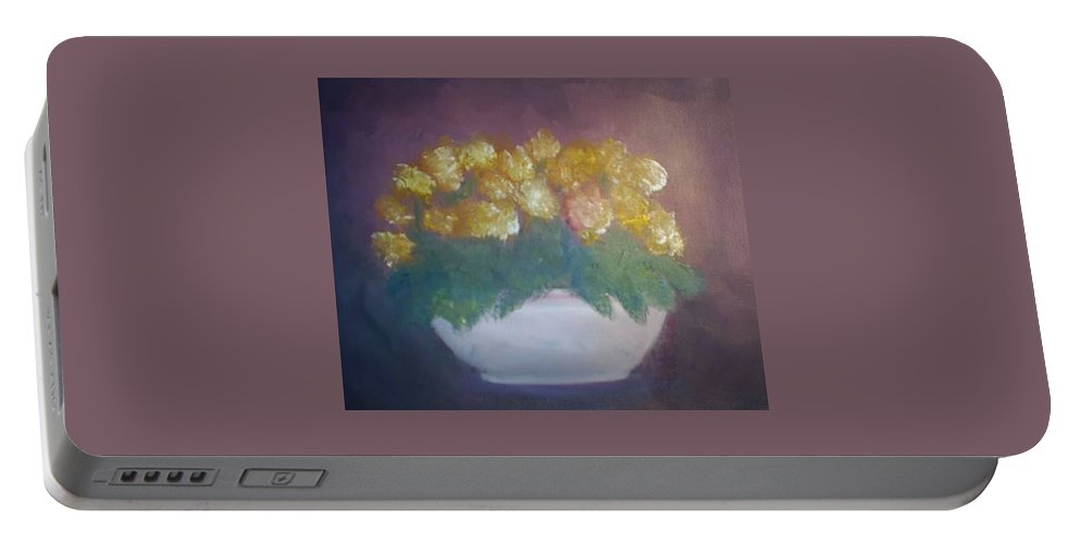 Marigolds Portable Battery Charger featuring the painting Marigolds by Sheila Mashaw
