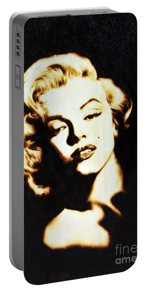 Marilyn Portable Battery Charger featuring the pyrography Marilyn by Ilaria Andreucci