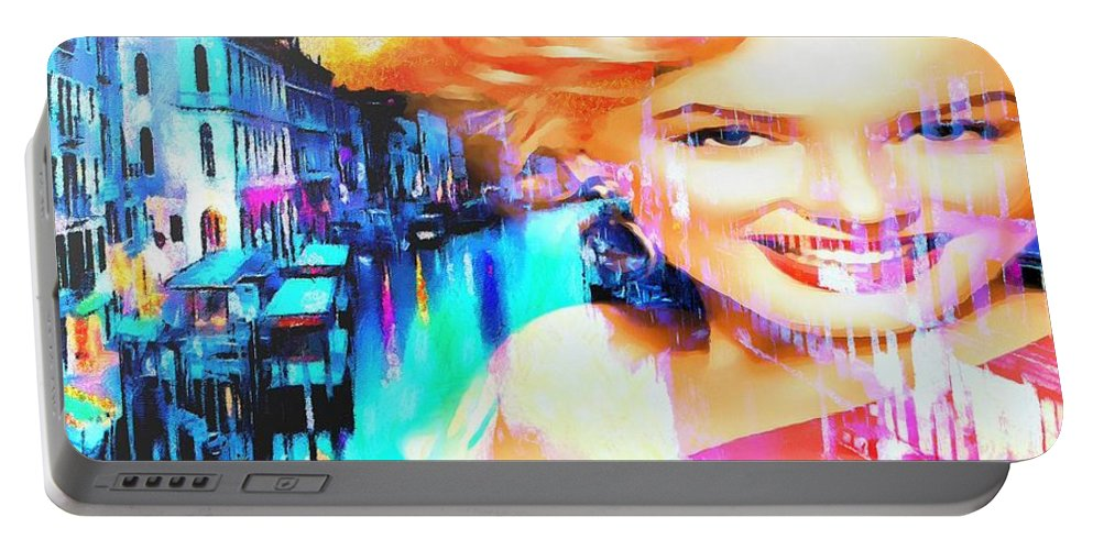 Marilyn In Italy Portable Battery Charger featuring the painting Marilyn In Italy by Catherine Lott