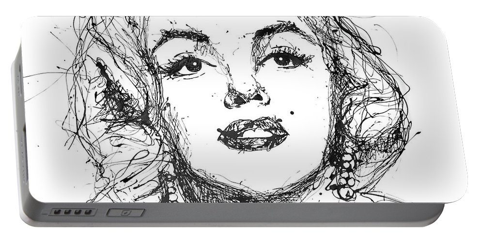 Marilyn Portable Battery Charger featuring the painting Marilyn Monroe by Katarzyna Scaber