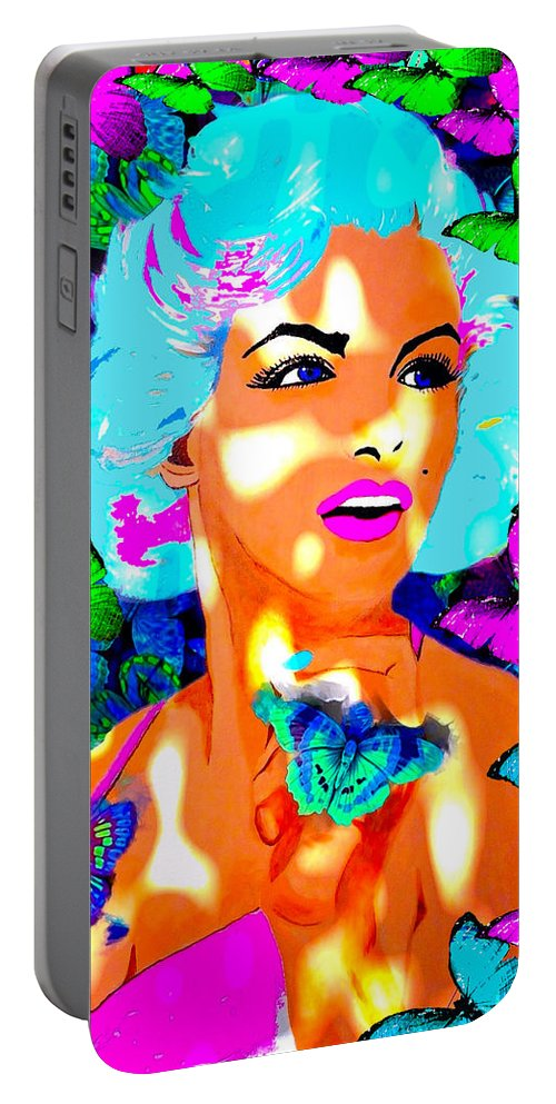 Marilyn Monroe Portable Battery Charger featuring the painting Marilyn Monroe Light And Butterflies by Saundra Myles