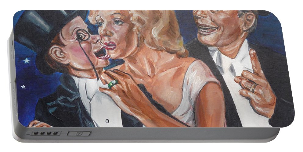 Old Time Radio Portable Battery Charger featuring the painting Marilyn Monroe Marries Charlie Mccarthy by Bryan Bustard