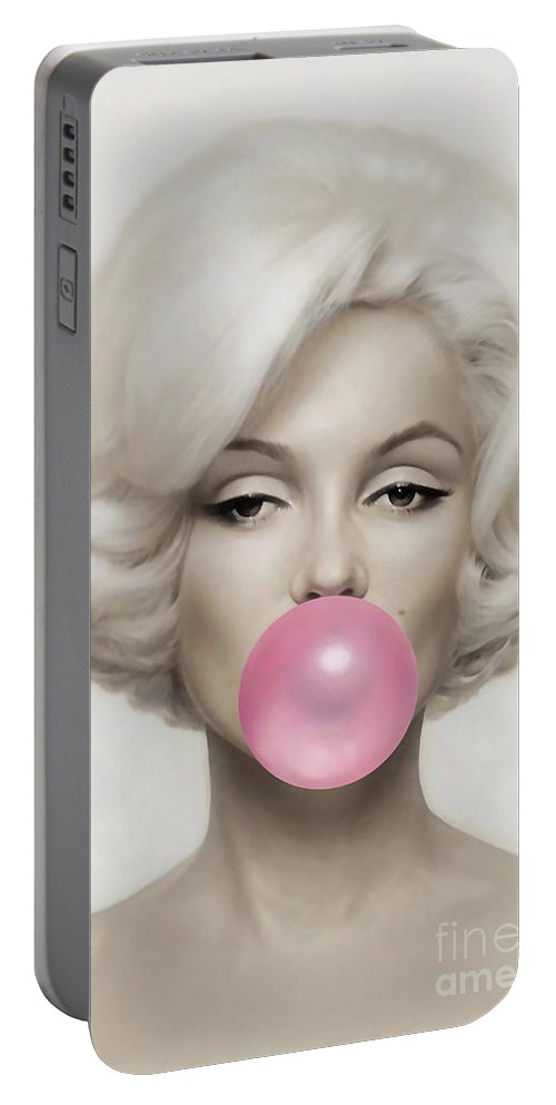Pop Art Paintings Mixed Media Mixed Media Portable Battery Charger featuring the mixed media Marilyn Monroe by Marvin Blaine