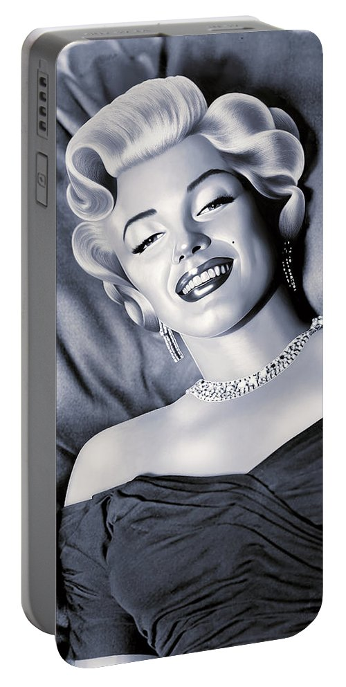 Marilyn Portable Battery Charger featuring the painting Marilyn Monroe Drawing by Jovemini ART
