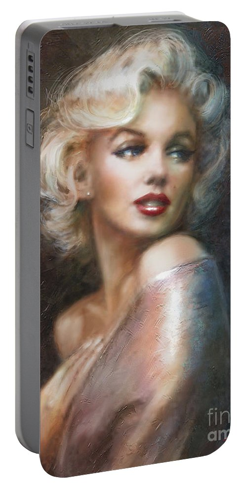 Theo Danella Portable Battery Charger featuring the painting Marilyn Ww Soft by Theo Danella