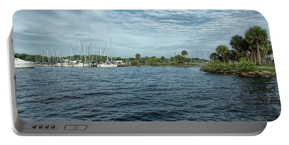 City Of Titusville Portable Battery Charger featuring the photograph Marina Entrance by John M Bailey