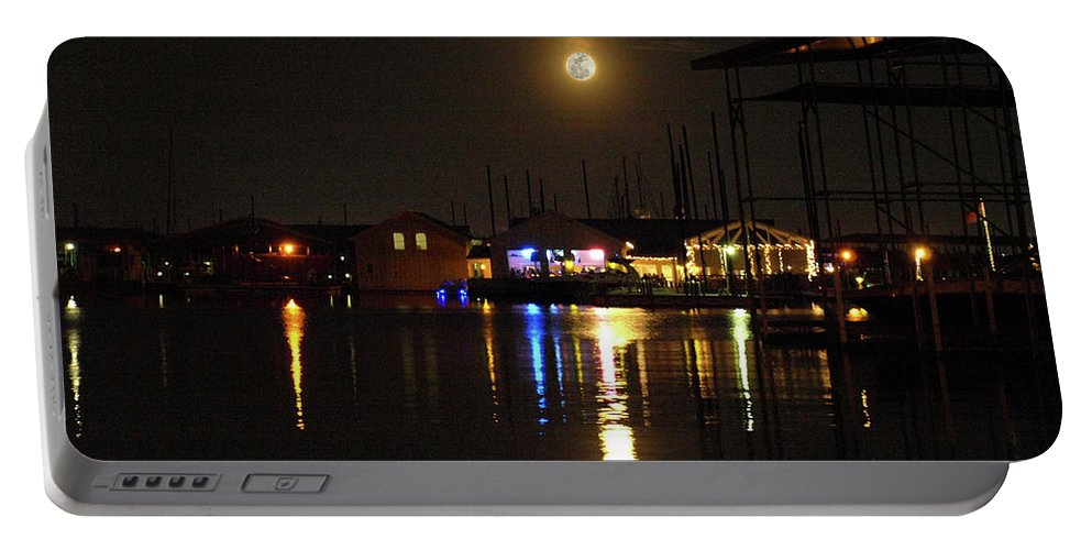 Moon Portable Battery Charger featuring the photograph Marina Moon by C Winslow Shafer