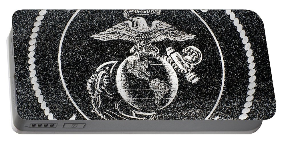 Marine Corps Portable Battery Charger featuring the photograph Marine Corps Emblem Polished Granite by Gary Whitton