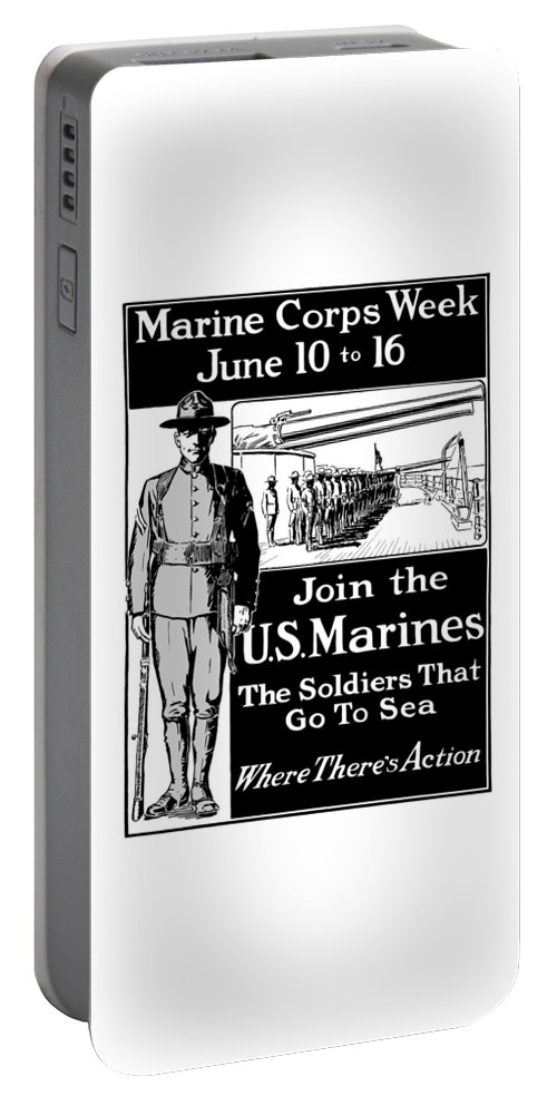 Marine Corps Portable Battery Charger featuring the mixed media Marine Corps Week - Ww1 by War Is Hell Store