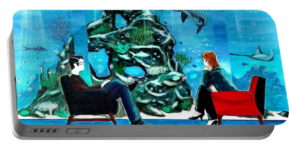 Johnlyes Portable Battery Charger featuring the painting Marinelife Observing Couple Sitting In Chairs by John Lyes