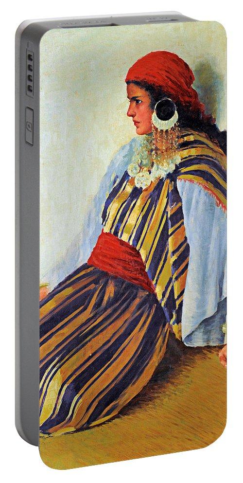 Mario Ridola Portable Battery Charger featuring the painting Mario Ridola Woman by Munir Alawi
