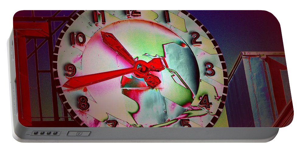 Seattle Portable Battery Charger featuring the digital art Market Clock 3 by Tim Allen