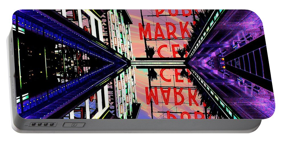 Seattle Portable Battery Charger featuring the digital art Market Entrance by Tim Allen