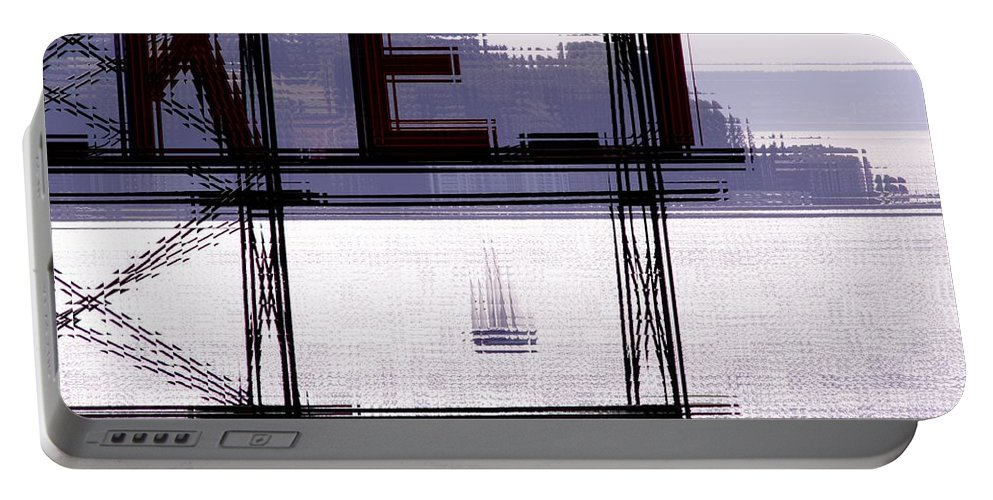 Seattle Portable Battery Charger featuring the digital art Market Sail by Tim Allen