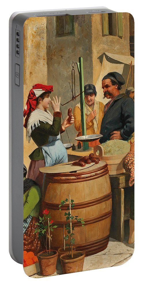 Moritz Stifter Portable Battery Charger featuring the painting Market Scene In Trieste by Moritz Stifter