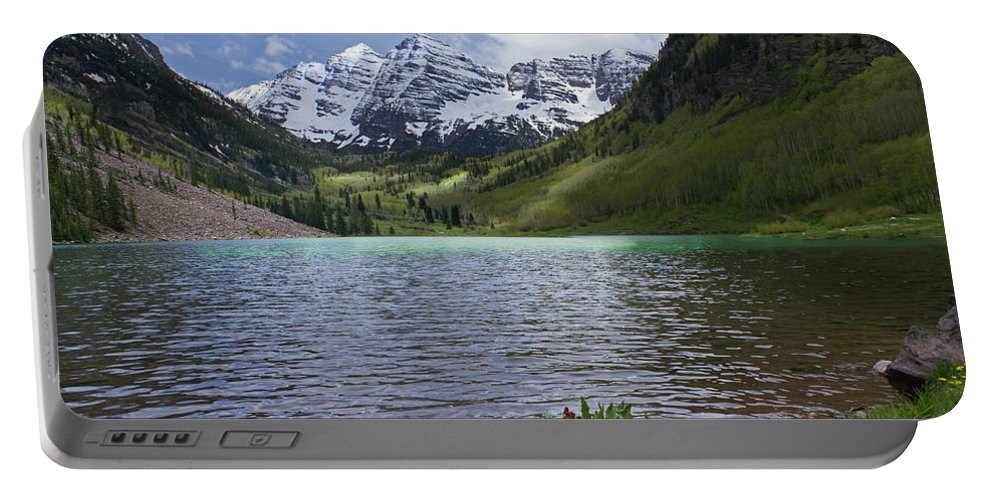 Aspen Portable Battery Charger featuring the photograph Maroon Bells Spring by Heather Coen