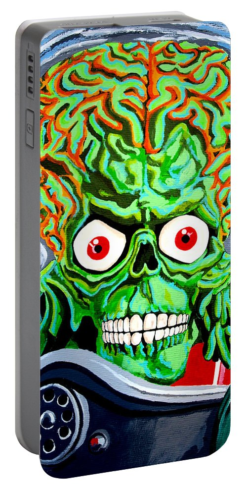 Mars Attacks Portable Battery Charger featuring the painting Mars Attacks by Jose Mendez