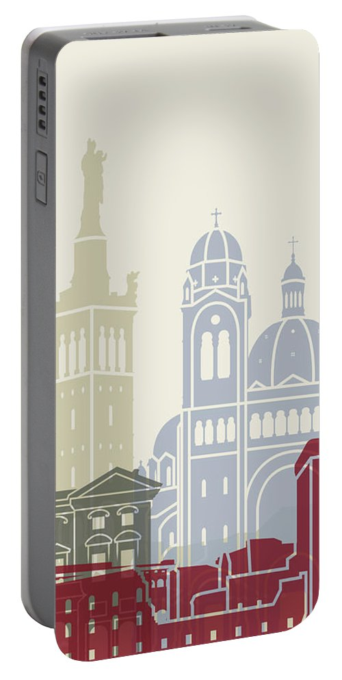 Europe Portable Battery Charger featuring the painting Marseille Skyline Poster by Pablo Romero