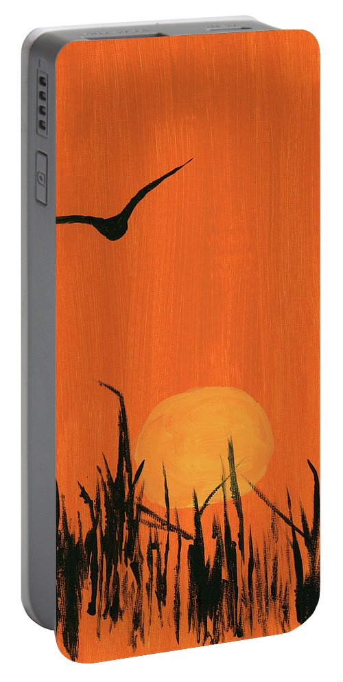 Bird Portable Battery Charger featuring the painting Marsh Home by Alexis Grone