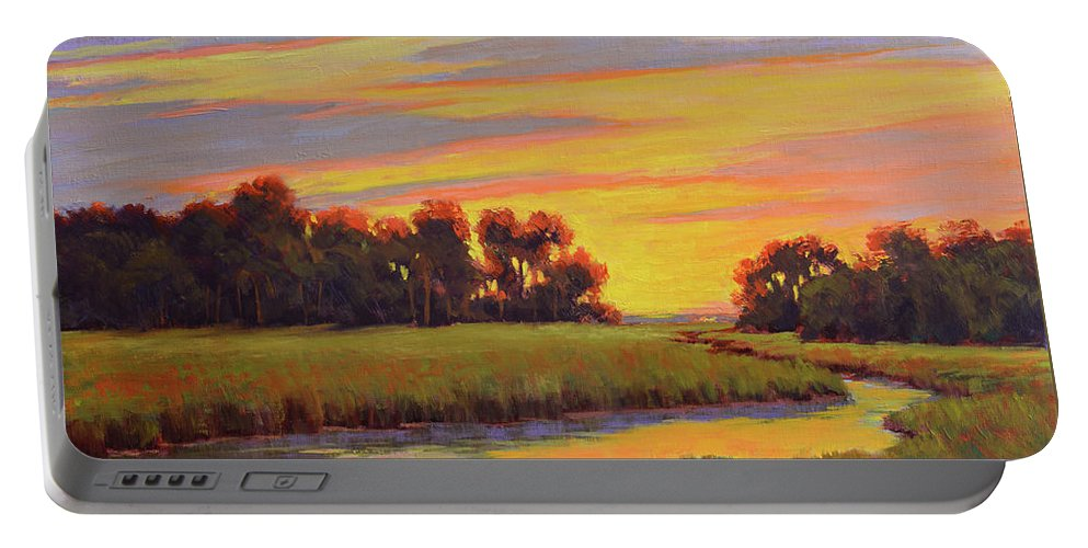 Impressionism Portable Battery Charger featuring the painting Marsh Sunrise by Keith Burgess