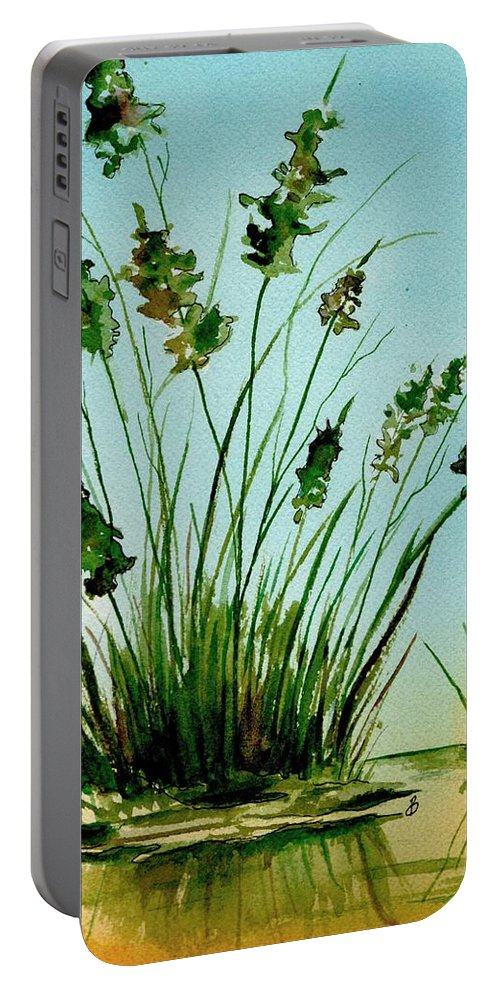 Landscape Portable Battery Charger featuring the painting Marsh Weeds by Brenda Owen