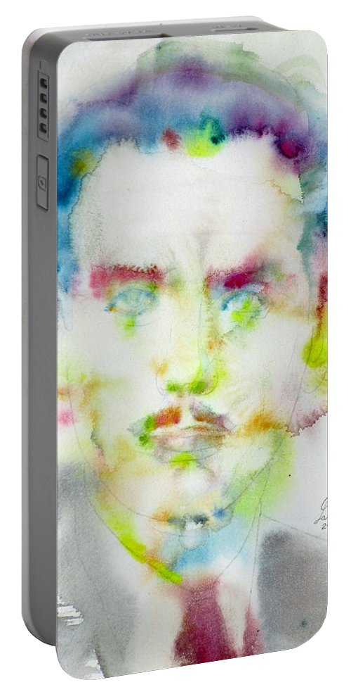 Marshall Mcluhan Portable Battery Charger featuring the painting Marshall Mcluhan - Watercolor Portrait by Fabrizio Cassetta
