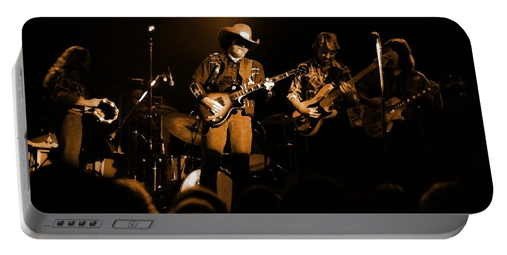 Marshall Tucker Portable Battery Charger featuring the photograph Marshall Tucker Winterland 1975 #12 Enhanced In Amber by Ben Upham
