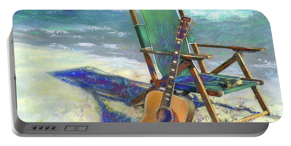 Guitar Portable Battery Charger featuring the painting Martin Goes to the Beach by Andrew King