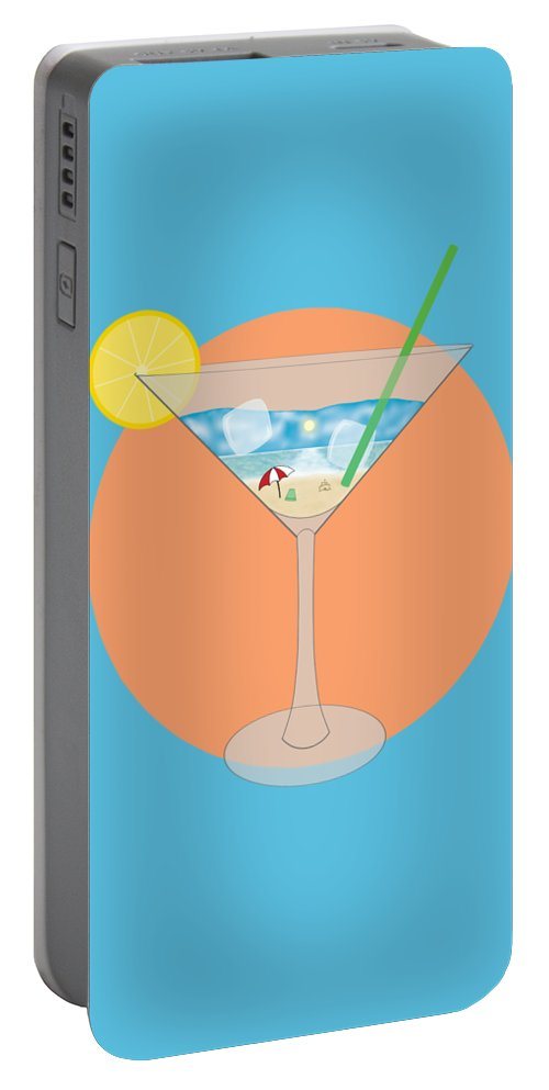 Martini Portable Battery Charger featuring the digital art Martini Beach by Kaiden Biggs
